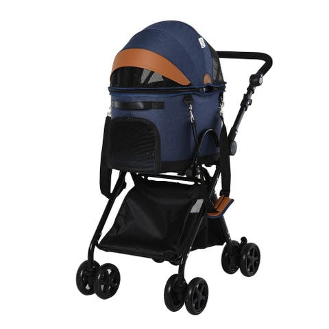 PawHut Luxury Folding Pet Stroller Dog/Cat Travel Carriage 2 In 1 Design with Pet Carrier Bag & Adjustable Canopy