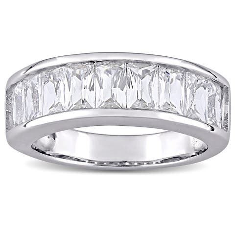 Miadora Sterling Silver Baguette-cut Created White Sapphire Anniversary Band Ring