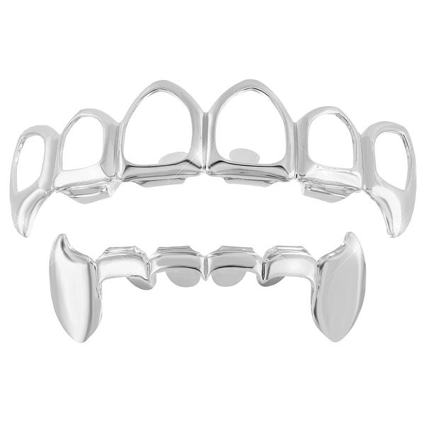 Open Face White Gold Finish Grillz Top Bottom Set