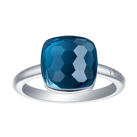 Vedantti Max Honeycomb Cut Blue Topaz Gemstone Royal Solitaire Ring