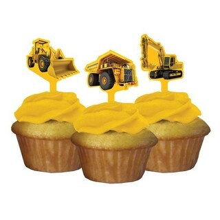 Club Pack of 144 Construction Birthday Zone Party Decorating Cupcake Dessert Toppers - YELLOW