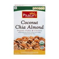 Peace Cereal Organic Flakes and Clusters - Coconut Chia Almond - Case of 6 - 11 oz.