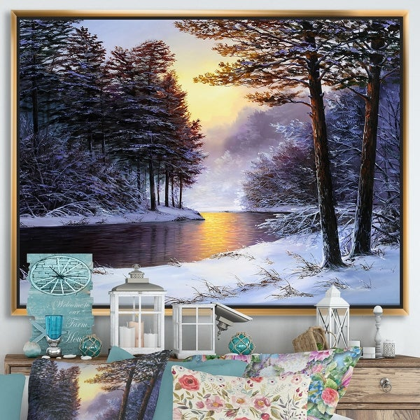 Designart 'Warm Sunshine Reflection Over Winter Forest River I' Farmhouse Framed Canvas Wall Art Print. Opens flyout.