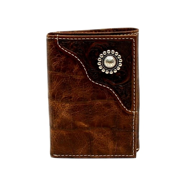 Ariat Western Wallet Mens Trifold Overlay Concho Zipper Brown - One size