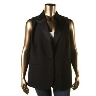 Lauren Ralph Lauren Womens Plus Adrielle Suit Vest Crepe Satin Trim