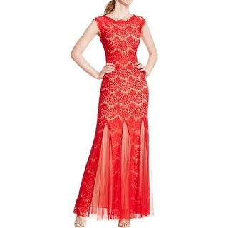 Betsy & Adam Womens Petites Evening Dress Lace Overlay Godet Gown