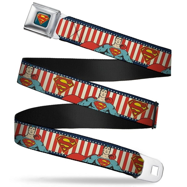 Superman Shield Full Color Americana Blue Superman Pose Shield Americana Seatbelt Belt
