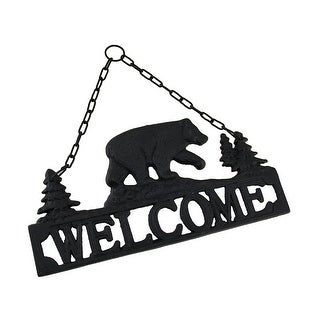Rustic Black Bear Cast Iron Hanging Welcome Sign