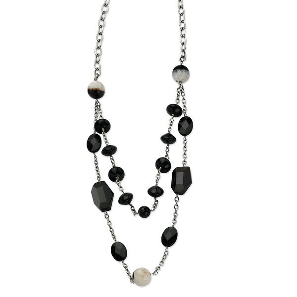 Chisel Stainless Steel Black Agate & Crystal 24 with 1.5 Inch Extension Necklace (18 mm) - 24 in