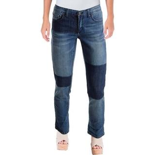 Vintage America Womens Boyfriend Jeans Patchwork Slim Fit - 2