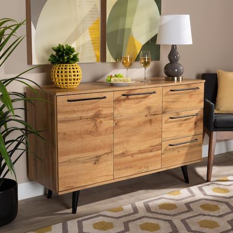 Radley Transitional Oak Brown Finished Wood 3-Drawer Sideboard Buffet