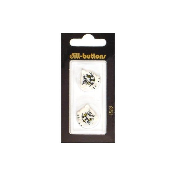 Dill Buttons 20mm 2pc Shank Kitty White
