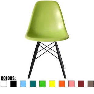 2xhome Green - Eames Style Bedroom & Dining Room Side Ray Chair with Eiffel Dark Wood Dowel Legs