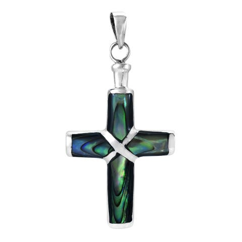 Handmade Christian Cross Stone Inlay Silver Pendant (Thailand)