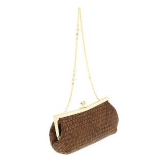 Scheilan Brown Fabric Weave Knot Clutch/Shoulder Bag - 9-4.5-2