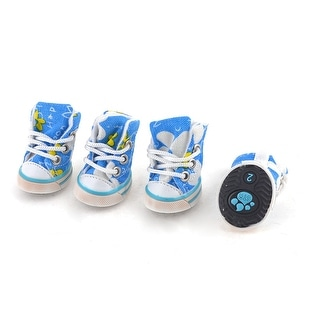 Unique Bargains 2 Pairs Walking Running Blue White Flower Printed Pet Dog Shoes Size XS