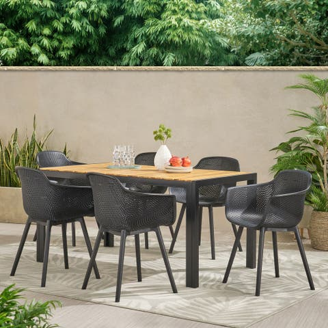 Flora Outdoor Wood and Resin Outdoor 7 Piece Dining Set by Christopher Knight Home