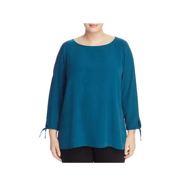 Eileen Fisher Womens Plus Pullover Top Bateau Neck Silk
