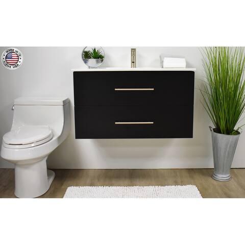 Volpa USA Napa 30-inch Black Wall-Mounted Floating Bathroom Vanity Set