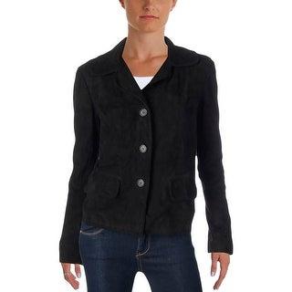 Lauren Ralph Lauren Womens Jacket Suede Button-Up