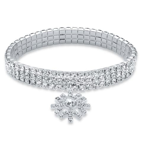 Silvertone Stretch Bracelet (19.5mm), Round Crystal 7 inch Length