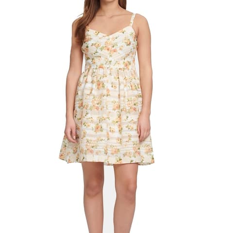 Kensie Womens Yellow Size 16 Printed Eyelet Floral Fit & Flare Dress
