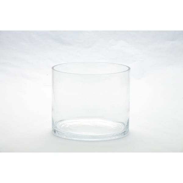 """7"""" Clear Cylindrical Hand Blown Glass Vase - N/A"""