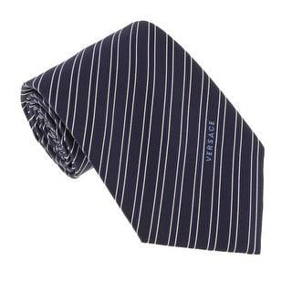 Versace Blue Woven Tonal Stripe Tie