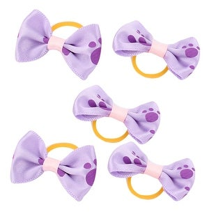 Rubber Pet Dog Footprint Pattern Hair Grooming Bands Clips 5 Pcs Purle