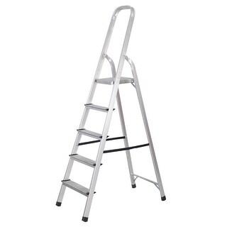 Goplus Foldable 5 Step Ladder Non-slip 330 lbs Capacity Platform Aluminum New