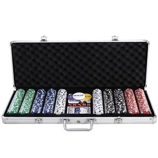 Costway New 500 Chips Poker Dice Chip Set Texas Hold'em Cards W/ Silver Aluminum Case
