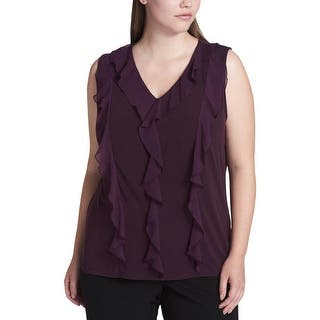 d7e2bc0377c6b Calvin Klein Performance Alloy Gray Womens 2X Plus Waffle-Knit Top. Quick  View