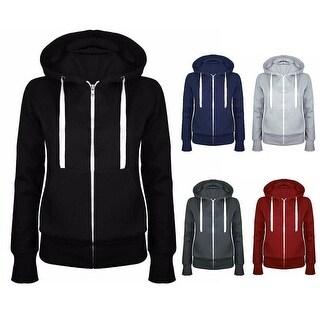 Lady Sports Long Sleeve Hooded Sweatshirt Casual Zipper Brushed Hoodie Coat Top