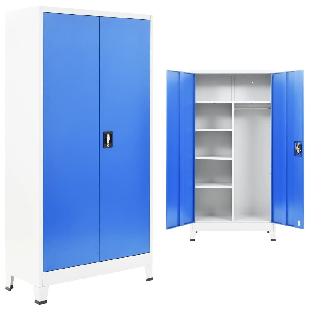 vidaXL Locker Cabinet with 2 Doors Steel Gray Office Home Organizer Storage
