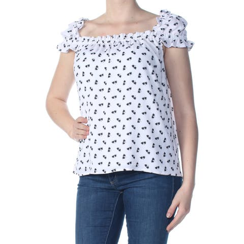 b1c77482af0bd0 CECE Womens White Ruffled Floral Cap Sleeve Square Neck Blouse Top Size: M
