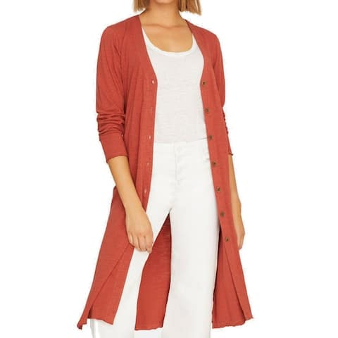 Sanctuary Women Sweater Clay Red Size Medium M Button Up Cardigan Tunic