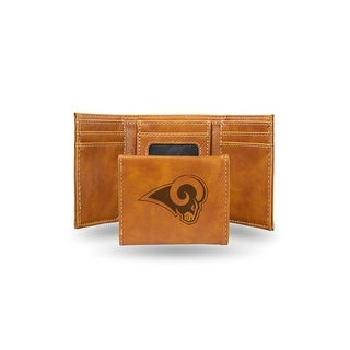4 Brown NFL Los Angeles Rams Laser Engraved Trifold Wallet N A