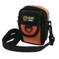 Black Orange Nylon Digital Camera Waist Pouch Bag w Adjustable Strap