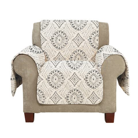 SureFit Medallion Printed Chair Furniture Cover with Pockets