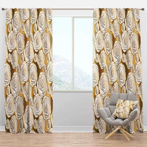 Designart 'Golden Floral III' Mid-Century Modern Blackout Curtain Panel