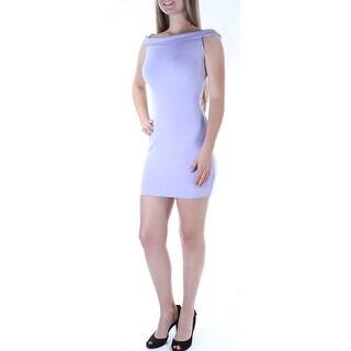 Womens Purple Sleeveless Micro Mini Body Con Party Dress Size: M