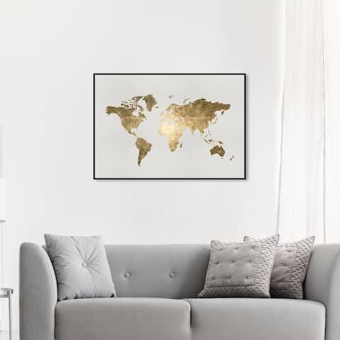 Oliver Gal 'Mapamundi Tiago Handmade' Maps and Flags Wall Art Framed Canvas Print World Maps - Gold, White