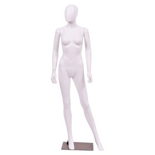 Costway Female Mannequin Egghead Plastic Full Body Dress Form Display