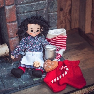 """Little House 18"""" Doll 8 Pc Christmas Accessory Set. Stocking. Doll, Penny, Cookie, Candy Cane, Cup, Mittens Fits American Girl"""