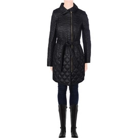 T Tahari Womens Salerno Belted Quilted Coat