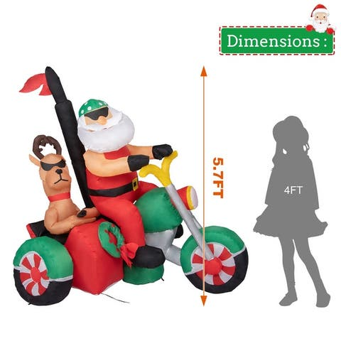 Kinbor 5.7 FT Christmas Inflatable, Santa Clause & Reindeer on Motorcycle w/ Built-in LEDs, Lighted Blow Up Outdoor Decoration