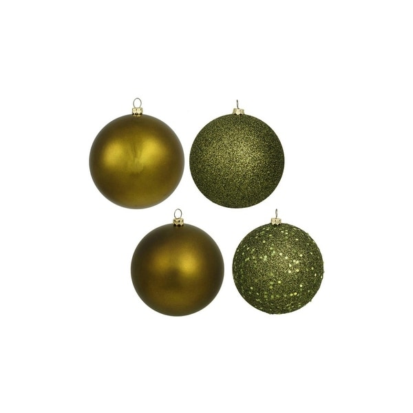 "4ct Olive Green Shatterproof 4-Finish Christmas Ball Ornaments 6"" (150mm)"