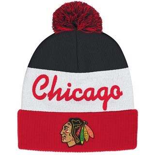 Reebok Chicago Blackhawks Cuffed Pom Knit Hat