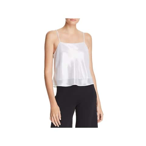 Lucy Paris Womens Camisole Top Shimmer Crop - Silver