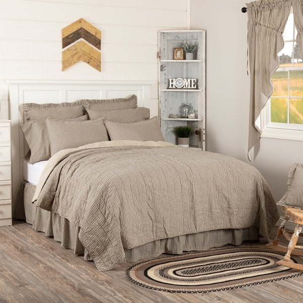 Sawyer Mill Ticking Stripe Quilted Coverlet. Opens flyout.